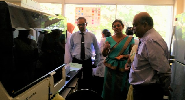 Inspection of the automated serological analyzer by the Deputy Director-General (Education Training & Research) at MRI